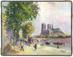 Notre Dame, Paris, From the Left Bank on a on 1940s Summer Day