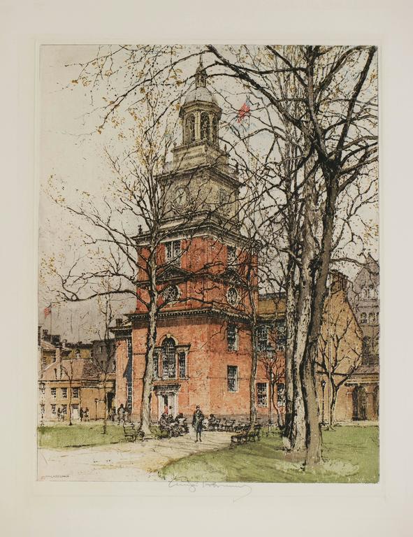 Luigi Kasimir Landscape Print - Philadelphia, Independence Hall