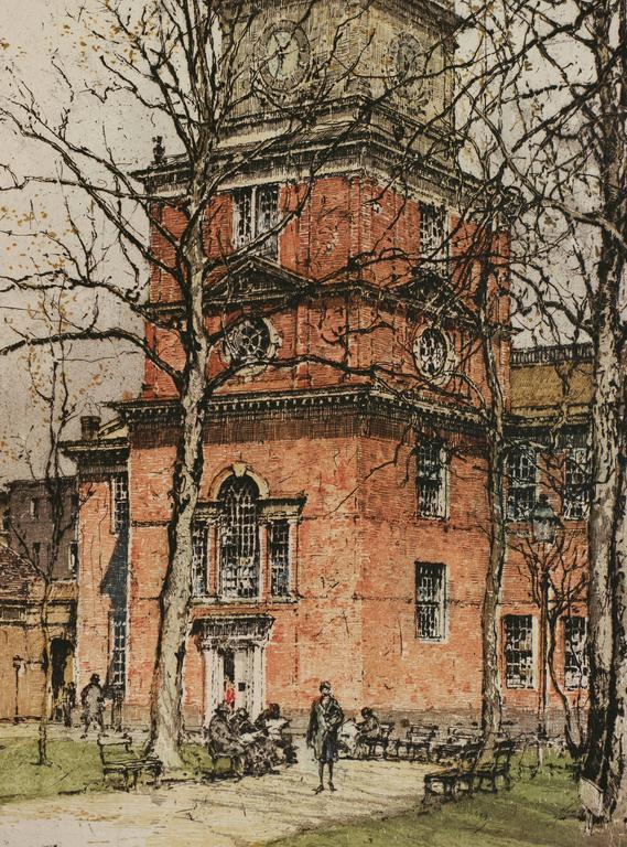 Philadelphia, Independence Hall - Impressionist Print by Luigi Kasimir