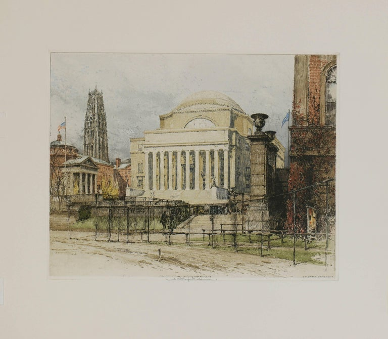 Luigi Kasimir Landscape Print - New York, Columbia University