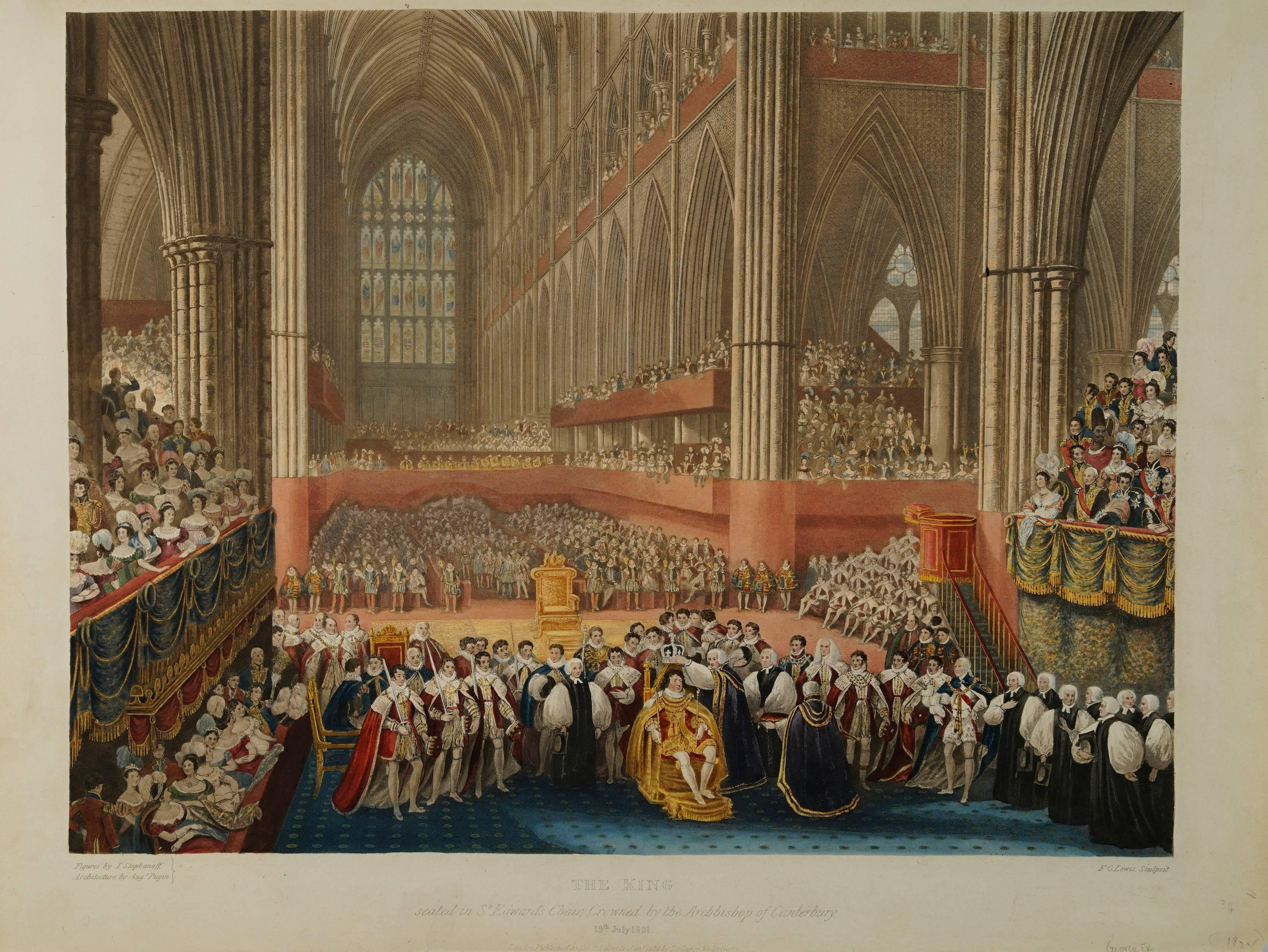 The King Seated in St. Edward's Chair Crowned by the Archbishop of Canterbury