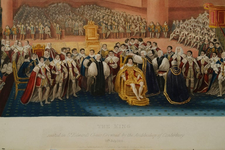 The King Seated in St. Edward's Chair Crowned by the Archbishop of Canterbury - Print by James Stephanoff