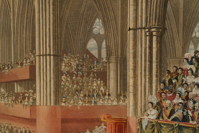 The King Seated in St. Edward's Chair Crowned by the Archbishop of Canterbury - Realist Print by James Stephanoff
