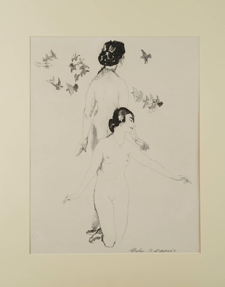 """Rare transfer lithograph, entitled """"Circling Doves,""""  by American artist Arthur B. Davies,  printed 1921 in an edition of twenty-five or less by George C.Miller (Reference: Price 56; Reuppel 164). An   Arthur B. Davies straddled the boundaries"""