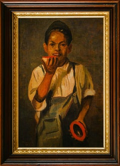 Portrait of Boy With Fruit