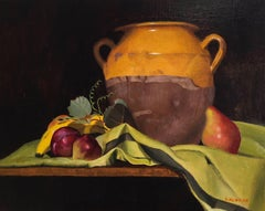 Still Life of Antique French Confit Pot with Fruit