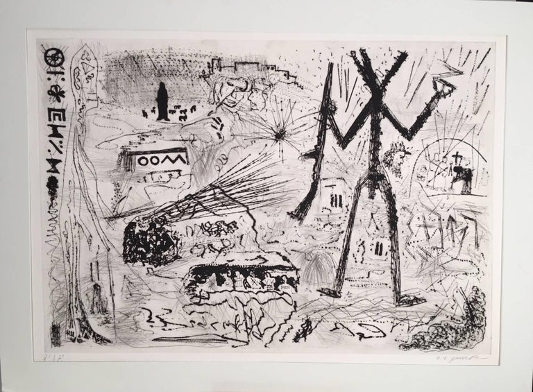A.R. Penck (Ralf Winkler) Figurative Print - Expedition to the Holy Land