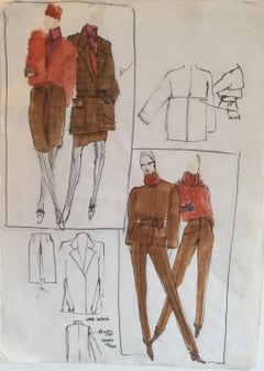 Rare Original Fashion Sketch With Production Notes