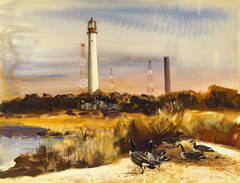 Lighthouse with Canadian Geese