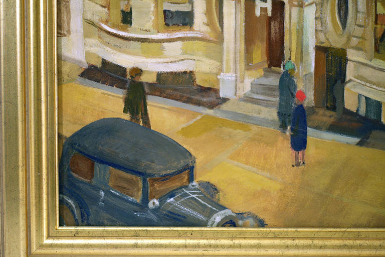 Oil on board of a 1940s West Side New York street scene by Henry Kallem (1912-1985). The artist utilizes the dynamic art deco facade of an apartment building to frame three anonymous, phantom-like figures on the sidewalk. In the foreground left we