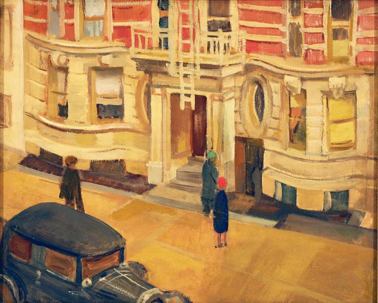 henry kallem art deco rendez vous new york painting at. Black Bedroom Furniture Sets. Home Design Ideas