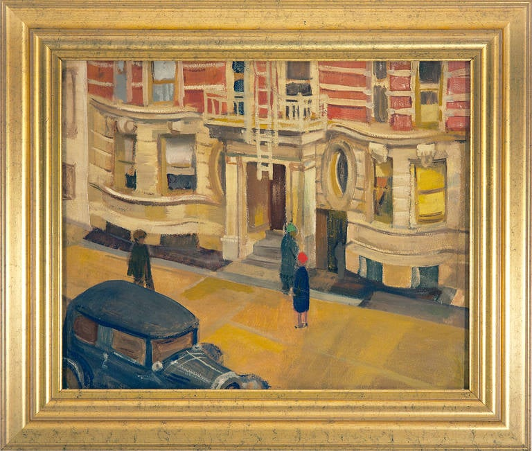 Henry Kallem Landscape Painting - Art Deco Rendez-vous New York