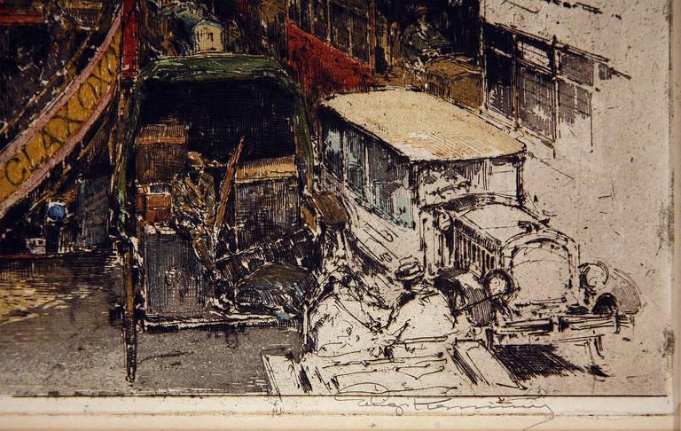 Fleet Street London - Brown Landscape Print by Luigi Kasimir