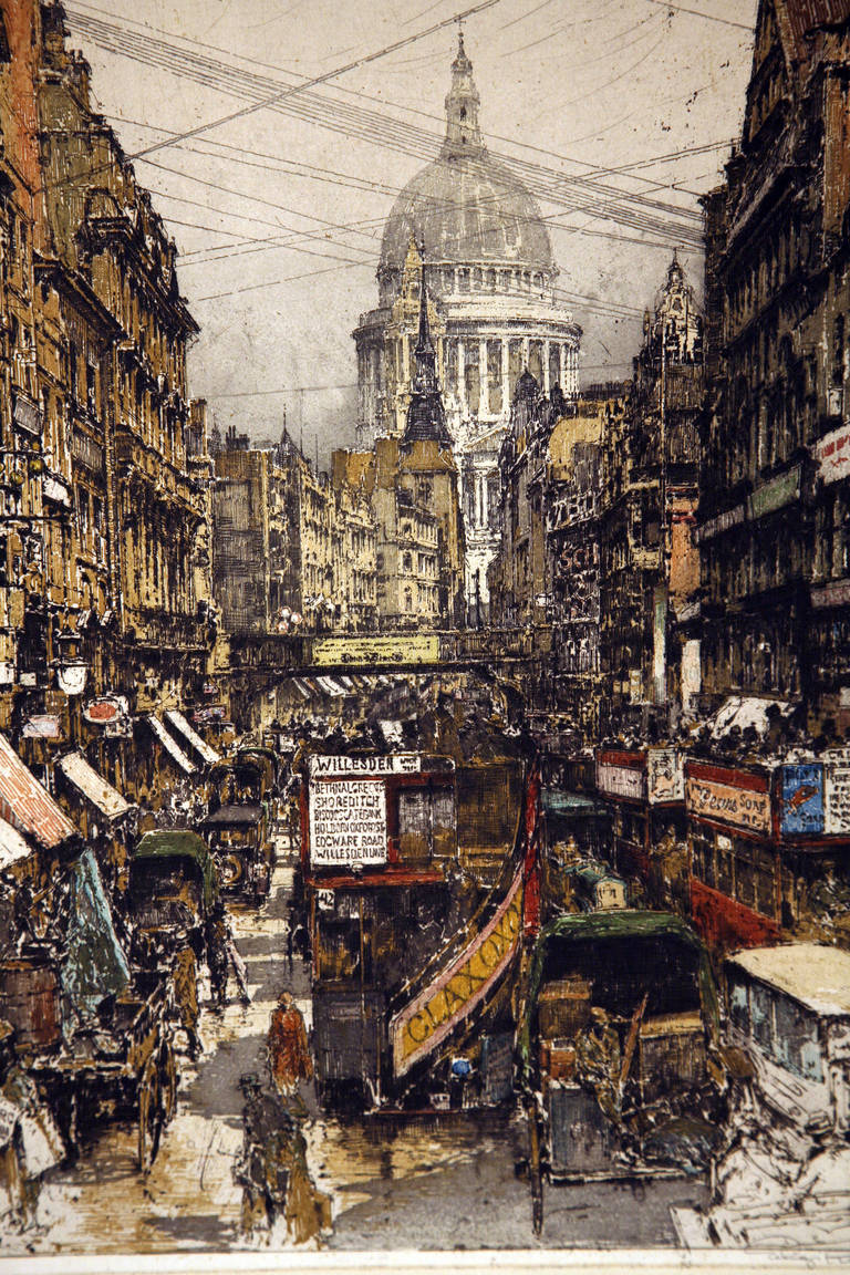 Fleet Street London - Print by Luigi Kasimir