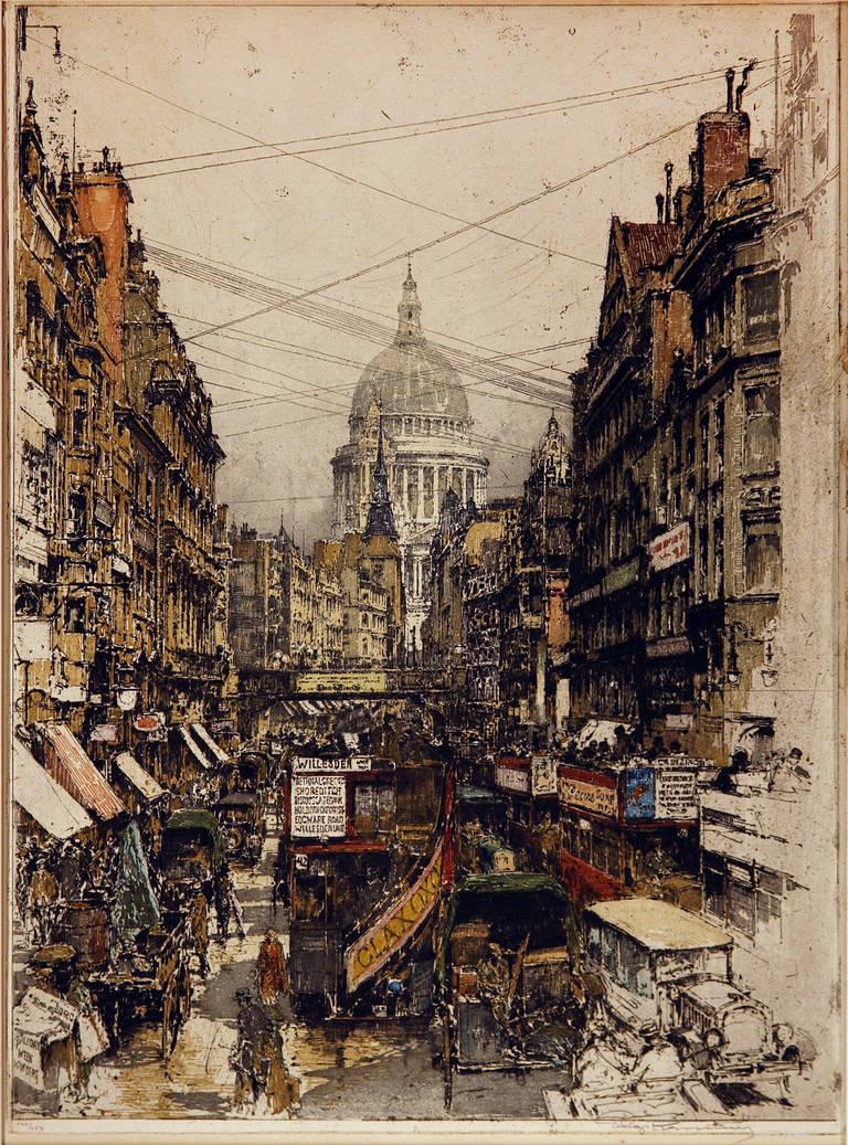 Luigi Kasimir Landscape Print - Fleet Street London
