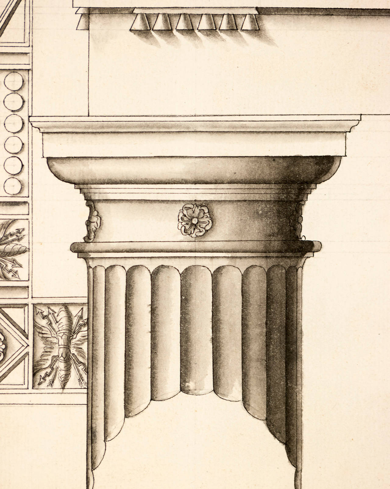 Doric Columns from the Theater of Marcella in Rome - Print by Unknown
