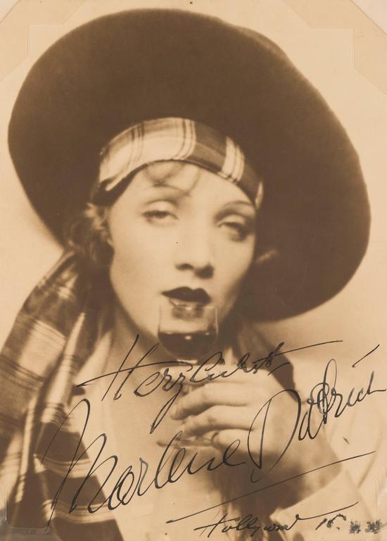 """""""Herzlichst, Marlene Dietrich, Hollywood, '34"""" - Photograph by Unknown"""