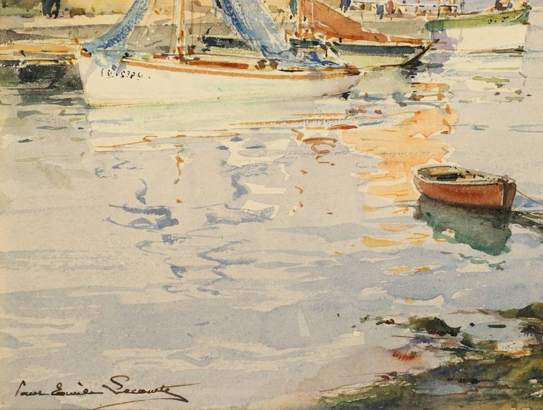 French Harbor with Sailboats and Lighthouse  - Impressionist Painting by Paul Emile Lecomte