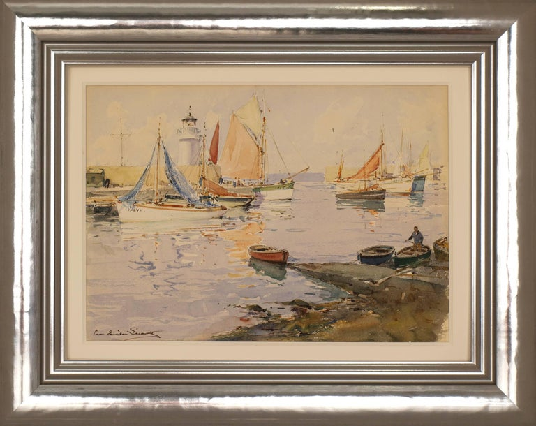 Paul Emile Lecomte Landscape Painting - French Harbor with Sailboats and Lighthouse
