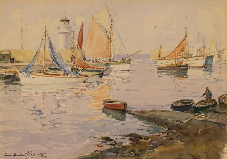 French Harbor with Sailboats and Lighthouse  - Painting by Paul Emile Lecomte