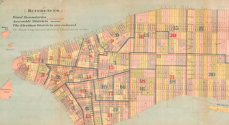Plan of the City of New York Showing Political, Legal and School Districts  - Beige Print by Unknown