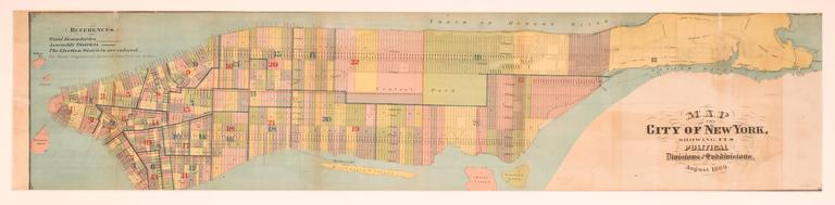 Plan of the City of New York Showing Political, Legal and School Districts  - Realist Print by Unknown
