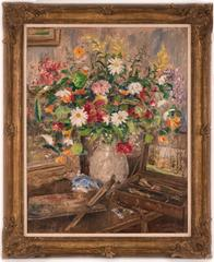 Floral Still Life with Paint Box and Brushes