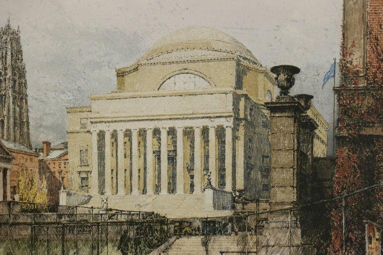New York, Columbia University - Impressionist Print by Luigi Kasimir