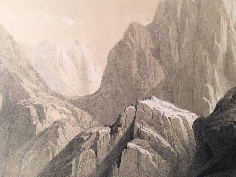 Ascent of the Lower Range of Sinai - Beige Landscape Print by David Roberts