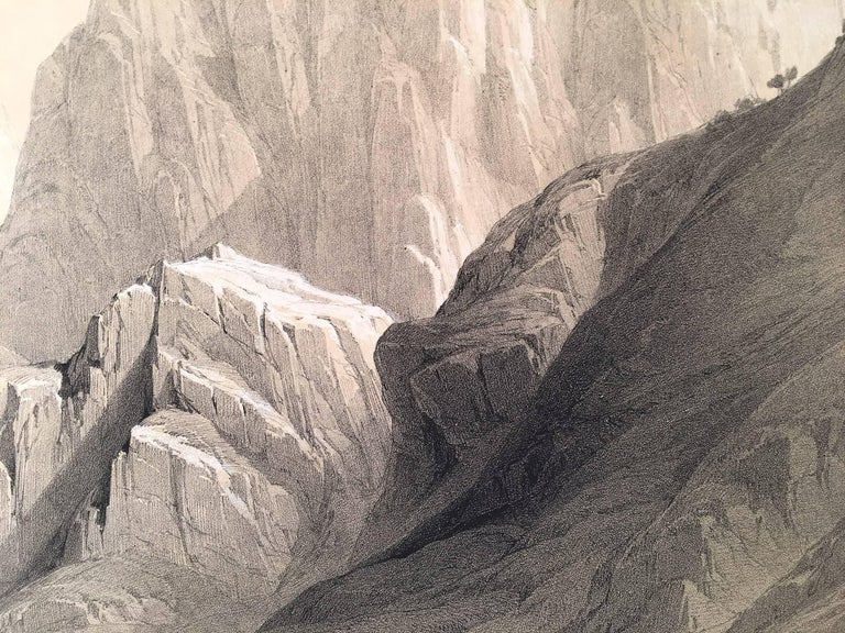 Original hand-colored lithograph by David Roberts (1796 – 1864) published by F.G. Moon, 1846. A view of the ascent to the summit of Mount Sinai, Egypt. Mount Sinai is an important sacred site for all of the Abrahamic religions, most notably for its