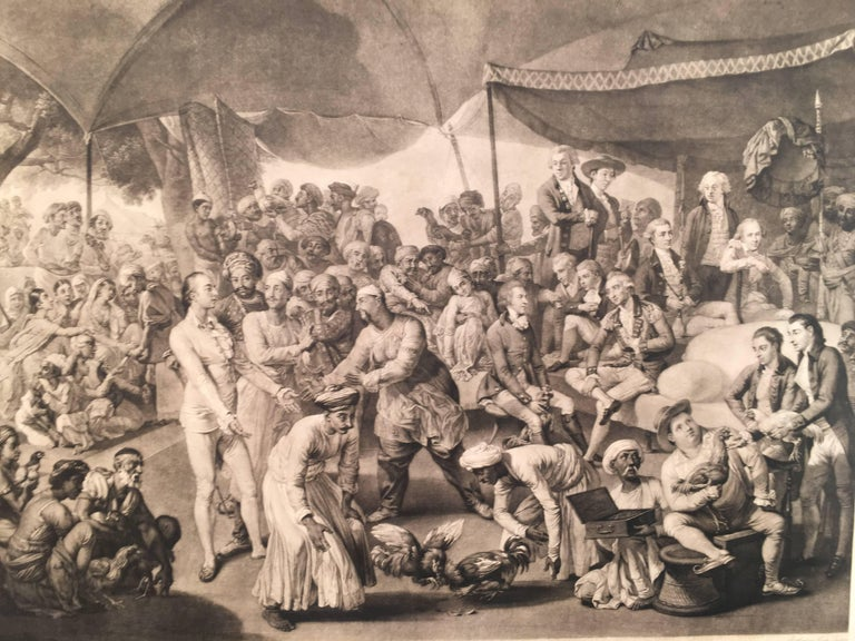 Colonel Mordaunt's  Cock Match, At Lucknow in the Province Oude in the year 1786 - Realist Print by Richard Earlom