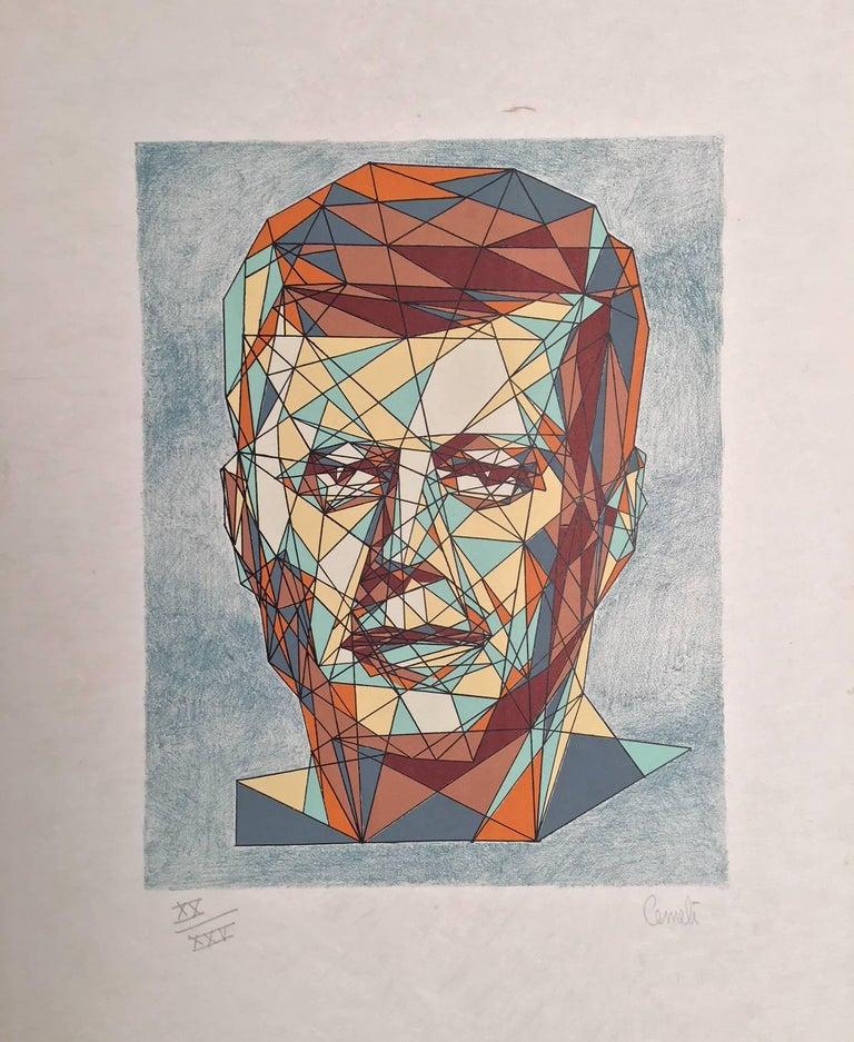 Unknown Portrait Print - John F. Kennedy Cubist Portrait
