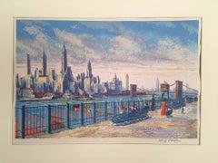 Brooklyn Heights Esplanade with New York  Skyline in Background