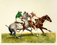 Polo Riders in Duel for the Ball