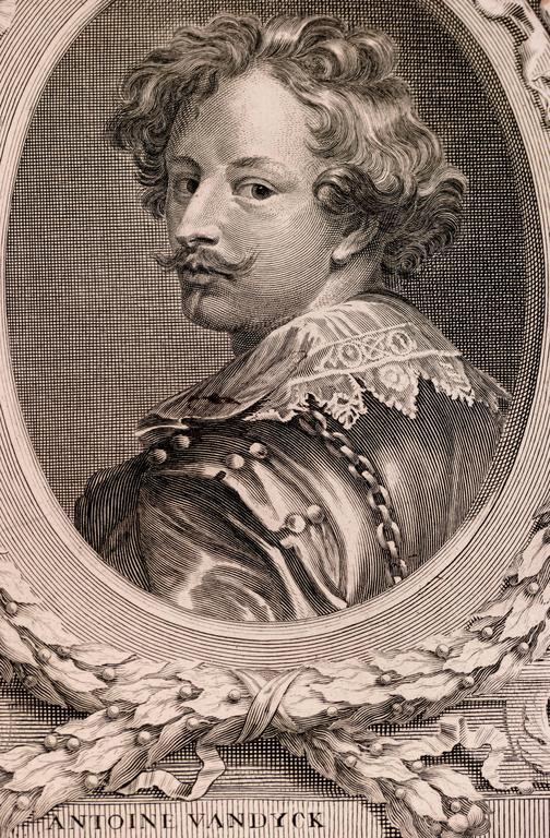 Portrait of Anthony VanDyck - Baroque Print by Albert Clouvet