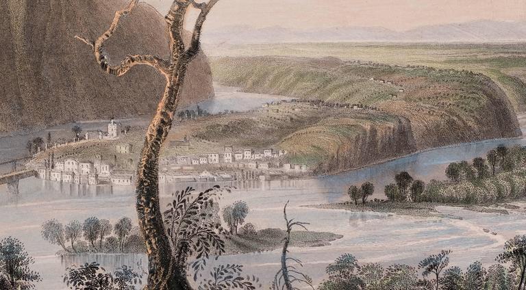 Harper's Ferry from the Blue Ridge - Realist Print by W. H. Bartlett