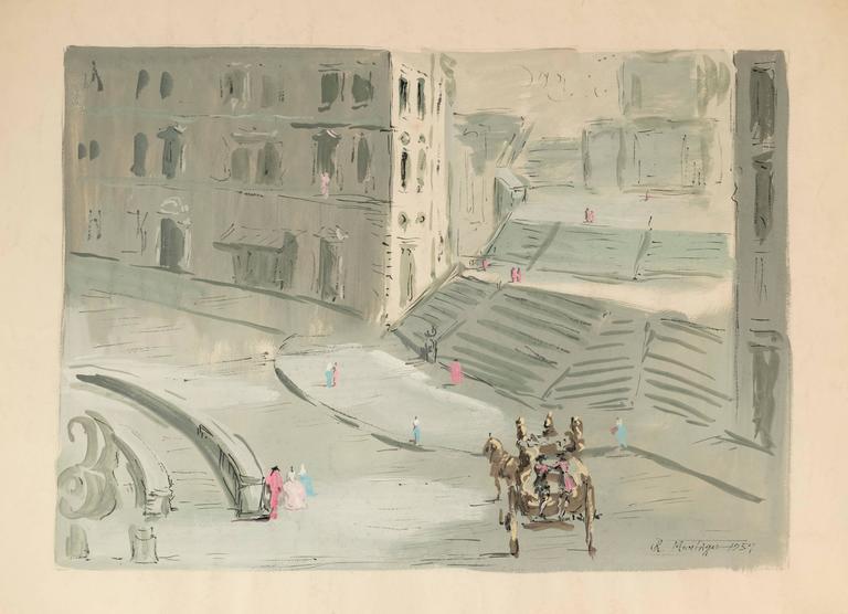 Roderic Montagu Landscape Painting   The Spanish Steps, Rome