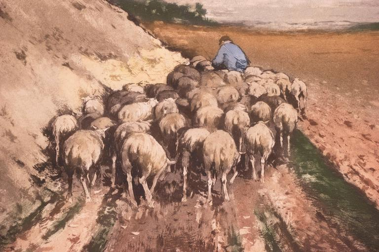 Shepherd With Sheep  - Print by Ferdinand-Jean Luigini