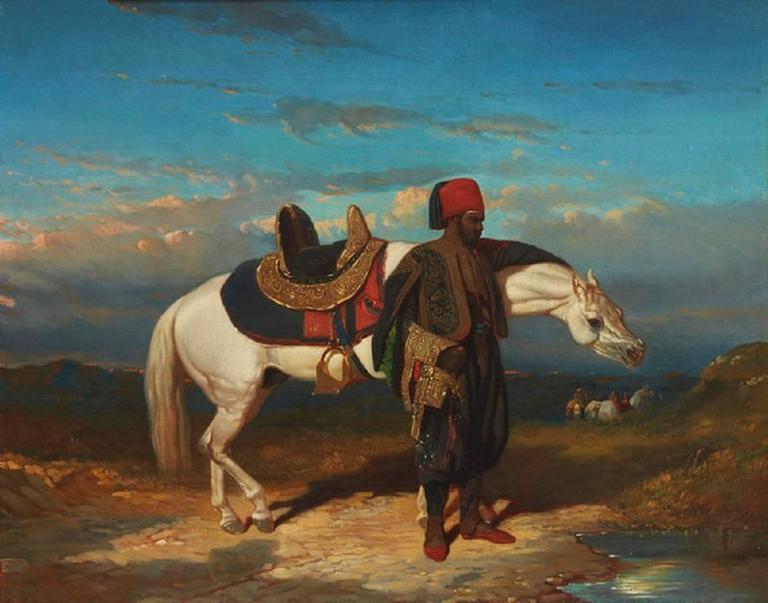 Alfred de Dreux Figurative Painting - Arab Horse & Groom