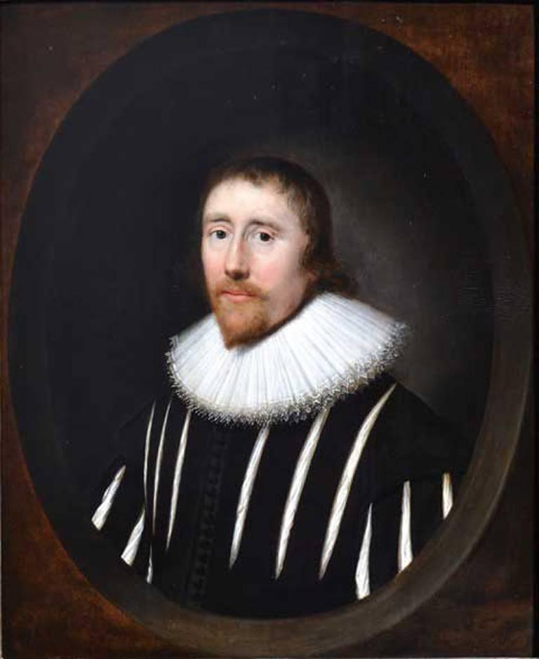 Cornelius Johnson Portrait Painting - Portrait of a Gentleman in a Slashed Black Doublet