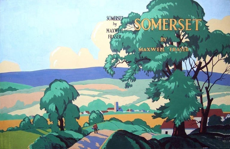 Leonard Cusden Landscape Art - Somerset by Maxwell Fraser (original painting for book cover)