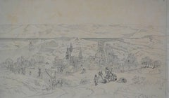 Dwelling by the Nile - Original Sketch for Orientalist Painting, 19th Century