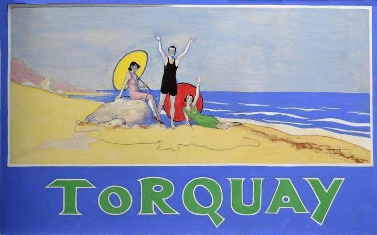 Arthur H. Tranter Figurative Art - Torquay  - Railway Poster Original Artwork