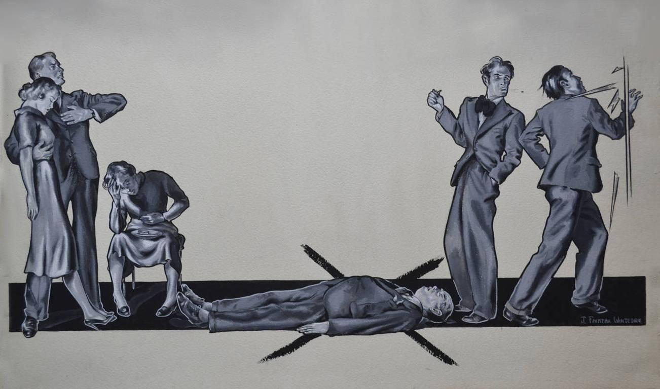 X MARKS THE SPOT - 1920's Original Illustration