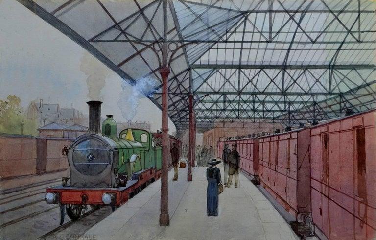 Arthur Charles Conrade Figurative Art - The Train Station