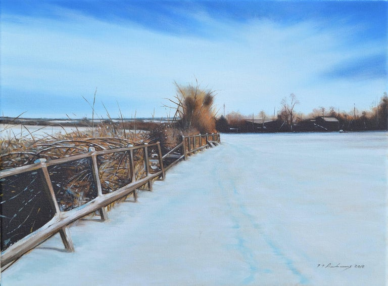 Jeremy Andrews Landscape Painting - A Field in Winter - Photo-realism Oil, 20th Century