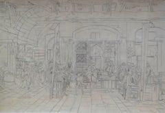 Street Tailors in Cairo - Original Sketch, 19th Century