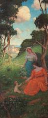 "Clark Hobart ""California Idyll"" Early California Oil painting circa 1920's"