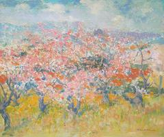 "Thomas McGlynn ""Blossoms"" California Impressionist Oil painting circa 1930's"