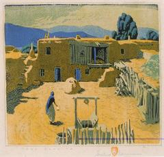 """Taos Placita"" Color Woodblock Print numbered II 82/125 by Gustave Baumann"